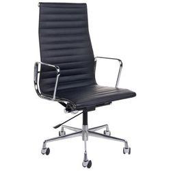 Fotel biurowy CH inspirowany EA119 skóra, chrom - czarny