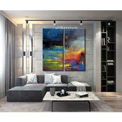 Rozlane niebo - abstrakcyjne obrazy do modnego salonu rabat 20%