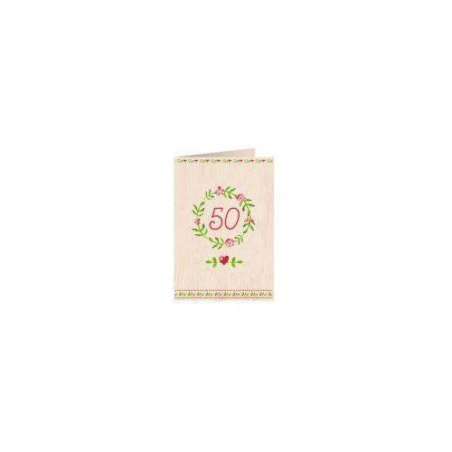 Pozostałe artykuły szkolne, Karnet drewniany C6 + koperta Urodziny 50
