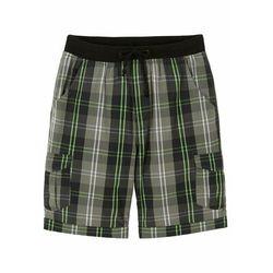 Bermudy chłopięce, Loose Fit bonprix biało-czarno-szaro-zielony neonowy w kratę