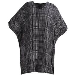 Live Unlimited London MONO CROSS HATCH CHECK KAFTAN Tunika black