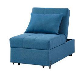 Rozkładany fotel LESNA w tkaniny– kolor niebieski