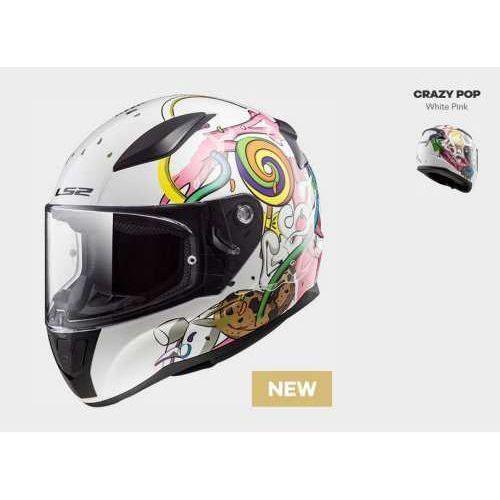 Kaski motocyklowe, KASK LS2 FF353J RAPID MINI SOLID CRAZY POP WHITE PINK - kask dla dziecka!