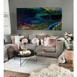 Szmaragdowa inspiracja - abstrakcyjne obrazy do modnego salonu rabat 40%