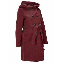 Krótki płaszcz ciążowy z domieszką wełny bonprix ciemnoczerwono-czarny melanż