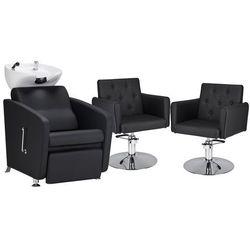 Zestaw Mebli Fryzjerskich - Myjnia Komfort Max + 2 Fotele Hamburg Dysk