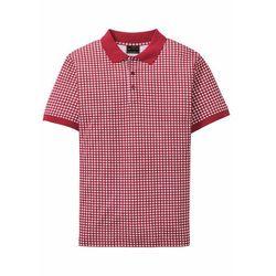 Shirt polo w ludowym stylu bonprix biało-ciemnopomarańczowy w kratę