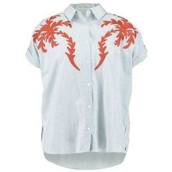 Scotch & Soda SHORT SLEEVE BOXY FIT WITH PLACEMENT EMBROIDERIES Koszula light blue