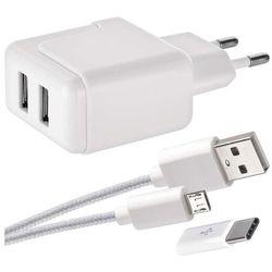 Zasilacz USB SMART 3.1A + przewód micro USB + USB-C