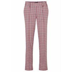 Spodnie bez zamka w talii, w kratę bonprix jeżynowy w kratę