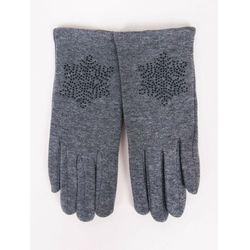 Rękawiczki dziewczęce dzianinowe szare ozdobne kamyczki 21