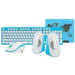 Zestaw bezprzewodowy klawiatura + mysz + głośniki + podkładka Natec Tetra niebiesko-biały