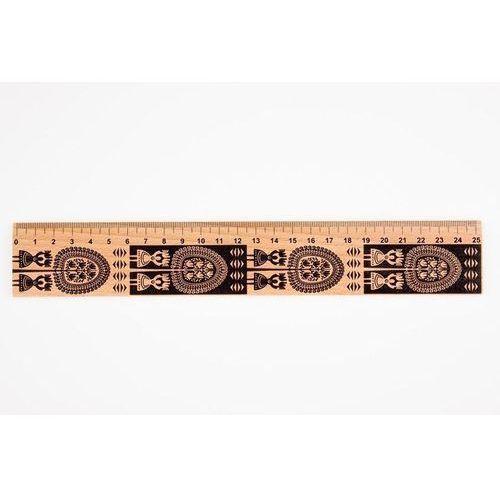 Przybory geometryczne, Linijka drewniana 25 cm kurpiowska FOLKSTAR
