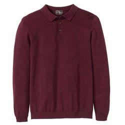 Sweter polo z dzianiny o gładkim splocie drobnych oczek bonprix czerwony klonowy