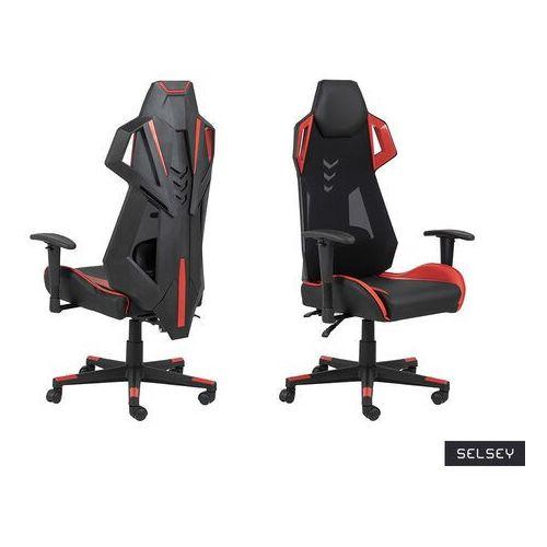 Fotele dla graczy, SELSEY Fotel gamingowy Burgone czarno-czerwony