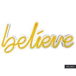 SELSEY Neon na ścianę Letely z napisem Believe żółty