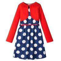 Zestawy odzieżowe dziecięce, Sukienka + pasek + bolerko (3 części) bonprix niebiesko-biały w kropki - czerwony