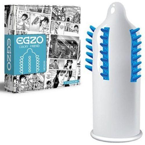 Prezerwatywy, Prezerwatywa z wypustkami EGZO Condom Cocky Friend Blue - Medium