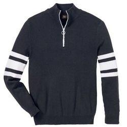 Sweter ze stójką z zamkiem, z bawełny z recyclingu bonprix ciemnoniebieski