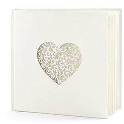Księga gości weselnych kremowa z ornamentowym sercem - 60 kartek