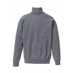 Sweter z golfem z dzianiny o gładkim splocie bonprix szary melanż