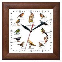 Zegary, Zegar drewniany kwadrat z głosami ptaków #2
