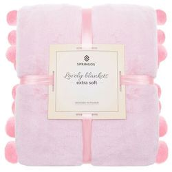 Narzuta na łóżko z dużymi pomponami, pled 160x200 cm koc na kanapę jasny różowy