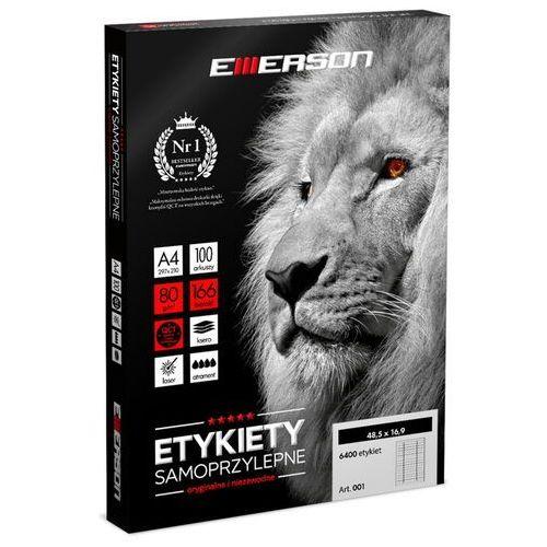Etykiety biurowe, Etykiety samoprzylepne A4 Emerson, nr 23, wymiary 105 x 37 mm, opakowanie 100 arkuszy po 16 etykiet - Autoryzowana dystrybucja - Szybka dostawa - Tel.(34)366-72-72 - sklep@solokolos.pl