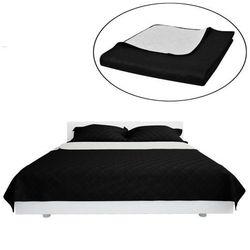 vidaXL Dwustronna pikowana narzuta na łóżko Czarna/Biała 220 x 240 cm Darmowa wysyłka i zwroty