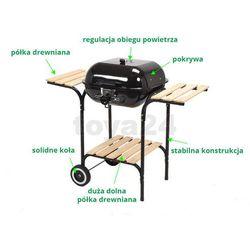 Grill ogrodowy węglowy z pokrywą i drewnianymi półkami, 40x45cm / 99581 / TOYA - ZYSKAJ RABAT 30 ZŁ