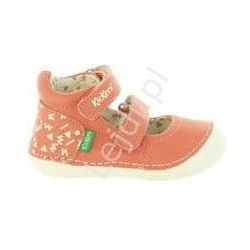 Koralowe skórzane buciki dla dziewczynki KicKers, szeroka stopa, wysokie podbicie