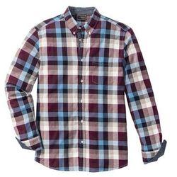 Koszula z długim rękawem, w kratę Regular Fit bonprix bordowo-niebiesko-kremowy w kratę