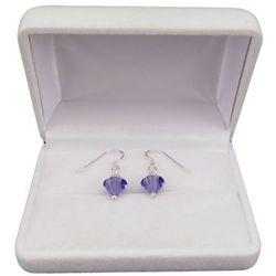 Kolczyki srebrne regularne fioletowe kryształy o długości 2,5 cm SKK03