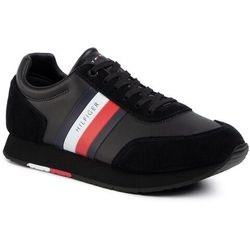 Sneakersy TOMMY HILFIGER - Corporate Leather Flag Runner FM0FM02602 Black BDS