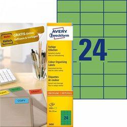 Etykiety trwałe kolorowe Avery Zweckform A4 100ark./op. 70x37mm zielone