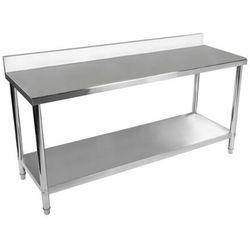 Stół roboczy - 200 x 60 cm - 195 kg - stal nierdzewna - rant