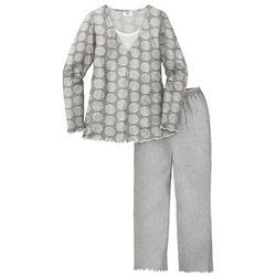Piżama bonprix szary melanż z nadrukiem