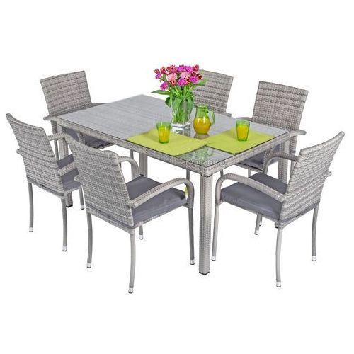 Zestawy ogrodowe, Meble ogrodowe technorattan MALAGA Stół i 6 krzeseł - Szare - szary
