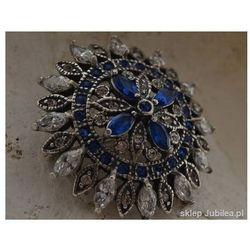 AMBROSIA - srebrna brosza szafiry i kryształy