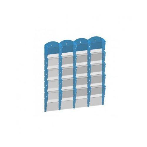 Ramy,stojaki i znaki informacyjne, Plastikowy uchwyt ścienny na ulotki - 4x5 A5, niebieski