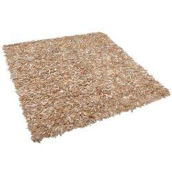 Dywan beżowy 200 x 200 cm skórzany MUT