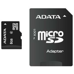 Karta pamięci Adata Micro SDHC 8 GB Class 4 + Adapter - AUSDH8GCL4-RA1