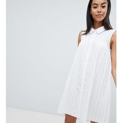 ASOS DESIGN Tall Mini Cotton Pleated Swing Shirt Dress - White