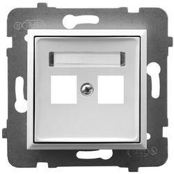 Obudowa gniazda podwójnego typu Keystone prosta GPK-2U/p/00 biała Aria Ospel