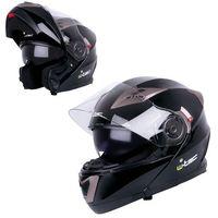 Kaski motocyklowe, Kask motocyklowy szczękowy z blendą W-TEC YM-925, Matowy brązowo-czarny, XS (53-54)