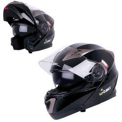 Kask motocyklowy szczękowy z blendą W-TEC YM-925, Matowy brązowo-czarny, XS (53-54)