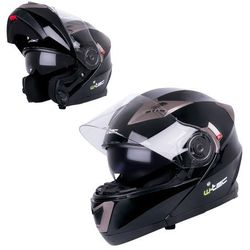 Kask motocyklowy szczękowy z blendą W-TEC YM-925, Matowy brązowo-czarny, XL (61-62)