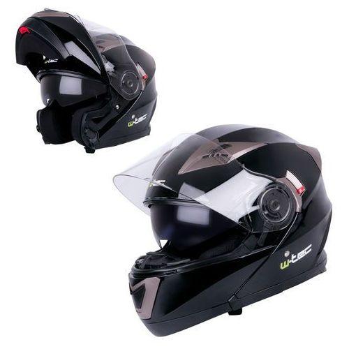 Kaski motocyklowe, Kask motocyklowy szczękowy z blendą W-TEC YM-925, White-Bronze, XL (61-62)