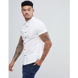 ASOS DESIGN slim shirt with grandad collar in white with contrast buttons - White