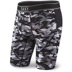 Bokserki męskie SAXX Kinetic Long Leg - Shutter Gray Camo - Czarno-Szary